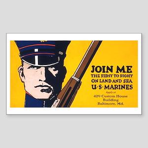 Vintage Navy Recruiting Poste Sticker (Rectangular