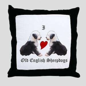 I love Sheepdogs Throw Pillow