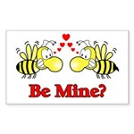 Be Mine Bees Rectangle Sticker