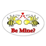 Be Mine Bees Oval Sticker