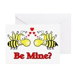 Be Mine Bees Greeting Cards (Pk of 10)