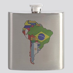 South America Flag Map Flask