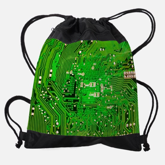 Circuit Board - Green Drawstring Bag