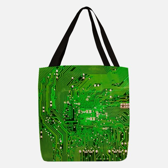 Circuit Board - Green Polyester Tote Bag