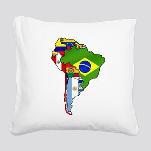 South America Flag Map Square Canvas Pillow