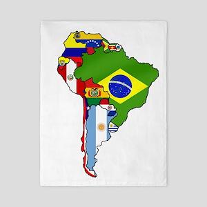 South America Flag Map Twin Duvet
