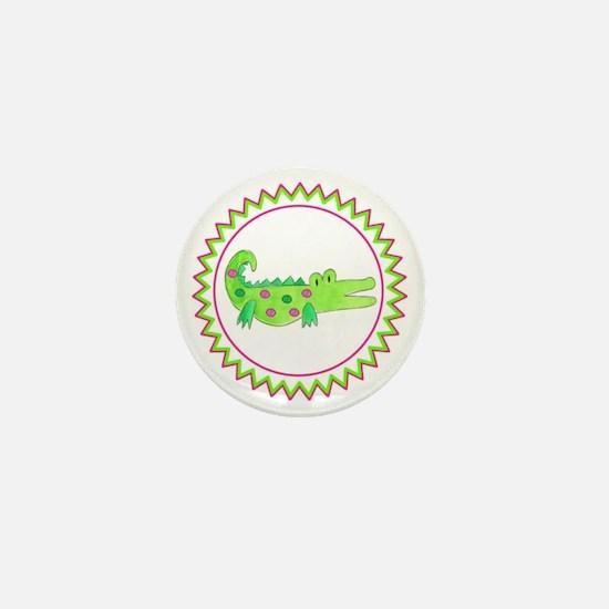 Pink Green Alligator Zig Zag Mini Button