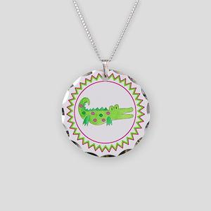 Pink Green Alligator Zig Zag Necklace Circle Charm