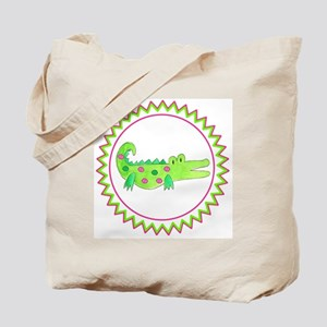 Pink Green Alligator Zig Zag Tote Bag