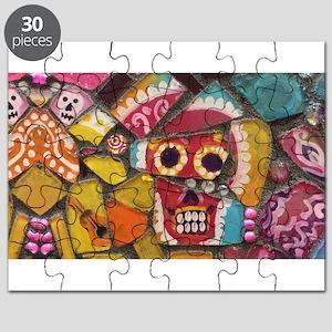 Fun and Funky Pop Art Sugar Skull Mosaic Pr Puzzle