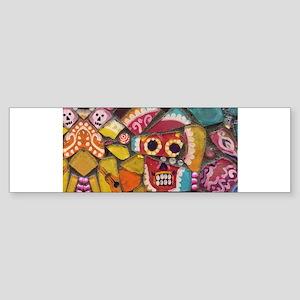 Fun and Funky Pop Art Sugar Skull M Bumper Sticker