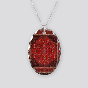 Persian Mashad Rug Necklace Oval Charm
