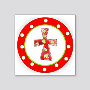 """Red and Green Cross Polka D Square Sticker 3"""" x 3"""""""