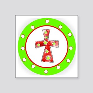 """Green and Red Cross Polka D Square Sticker 3"""" x 3"""""""