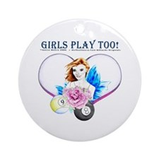 Girls Play Pool Too Round Ornament