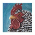 Striped Rooster Tile Coaster
