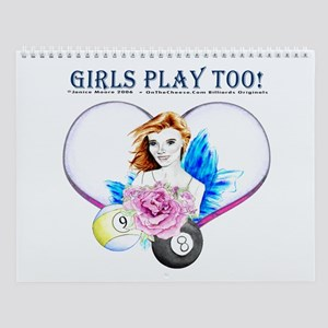 Girls Play Pool Too Wall Calendar