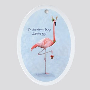 flamingo holiday humor Oval Ornament