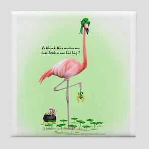 St Patrick's Day Flamingo Tile Coaster
