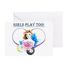 Girls Play Pool Too Greeting Card