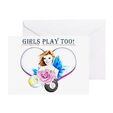 Girls Play Pool Too Greeting Card
