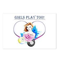 Girls Play Pool Too Postcards (Package of 8)