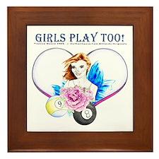 Girls Play Pool Too Framed Tile