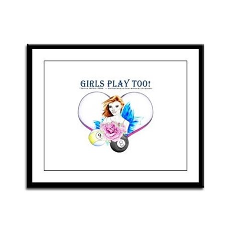 Girls Play Pool Too Rose Fairy Large Framed Print