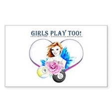 Girls Play Pool Too Sticker (Rectangle 50 pk)