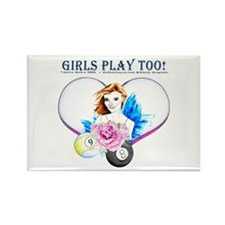 Girls Play Pool Too Rectangle Magnet (10 pack)