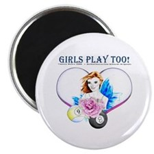 Girls Play Pool Too Magnet