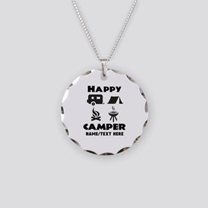 Happy Camper Personalized Necklace Circle Charm
