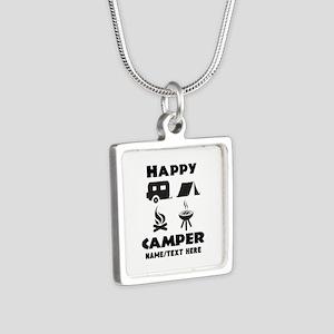 Happy Camper Personalized Silver Square Necklace