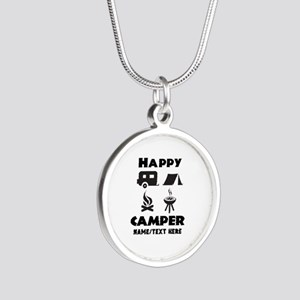 Happy Camper Personalized Silver Round Necklace