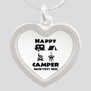 Happy Camper Personalized Silver Heart Necklace