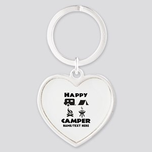 Happy Camper Personalized Heart Keychain