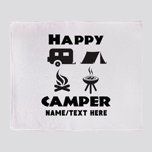 Happy Camper Personalized Throw Blanket