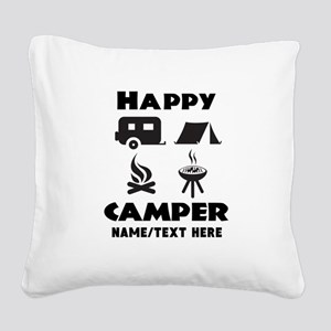 Happy Camper Personalized Square Canvas Pillow