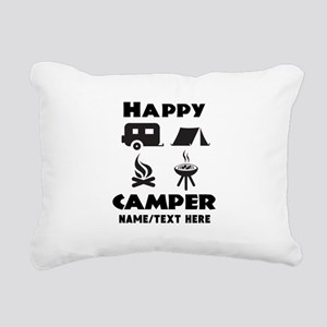 Happy Camper Personalize Rectangular Canvas Pillow