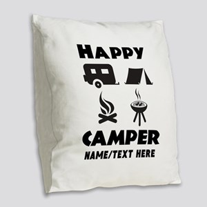 Happy Camper Personalized Burlap Throw Pillow