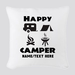 Happy Camper Personalized Woven Throw Pillow