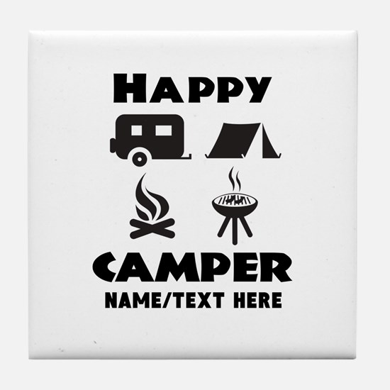 Happy Camper Personalized Tile Coaster