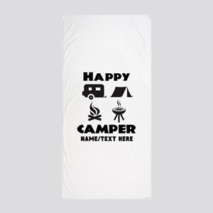 Happy Camper Personalized Beach Towel