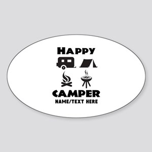 Happy Camper Personalized Sticker (Oval)