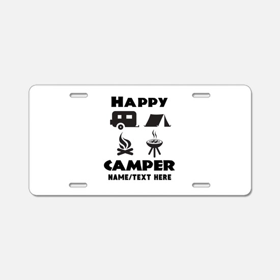 Happy Camper Personalized Aluminum License Plate