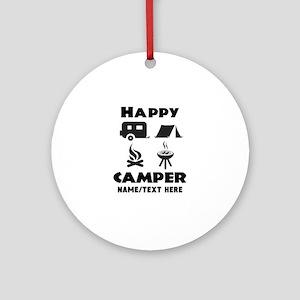 Happy Camper Personalized Round Ornament