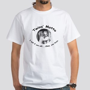 Twins' Motto Apparel White T-Shirt