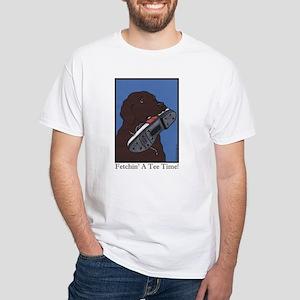 """Fetchin' a Tee Time"" Choc Lab White T-Shirt"