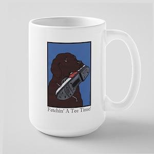 """Fetchin' a Tee Time"" Choc Lab Large Mug"