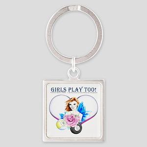 Girls Play Pool Too Square Keychain
